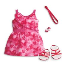 American Girl Truly Me Red Hearts Ruffle Dress And Sandals, Headband Outfit