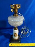 Antique Electrified Oil Lantern Lamp Light Cast Iron Base Painted Little Girl