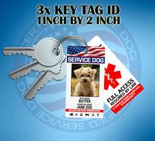3X SERVICE DOG COLLAR TAG OR KEY CHAIN TAG CARD CUSTOMIZE ADA ANIMAL BADGE