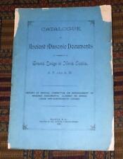XRARE: 1890 Catalogue of Ancient Masonic Documents Grand Lodge of Nova Scotia