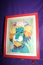 Vintage 1960s Leo the Lion  Print Framed Signed Michele Pop Art Kitsch