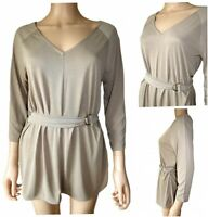 New Ex M&S Ladies Coffee Jersey 3/4 Sleeve V Neck Casual Tunic Top Size 12 - 24