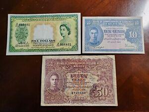 Malaya and British Borneo 3 Banknotes