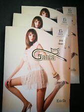 3 x Gatta Estella 15 Denier T-Band, Classic Tights ,Semi-Mat Small Graffit