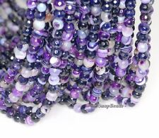 6MM ROYAL PURPLE AGATE GEMSTONE PURPLE SWIRL FACETED ROUND 6MM LOOSE BEADS 15""