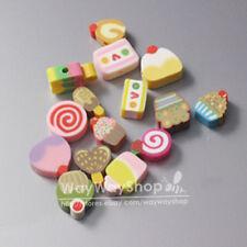 100 Pcs Nail Art DIY mixed fimo Polymer Clay Spacer Beads Hole Cake