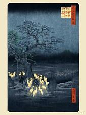 Hiroshige Japanese Poster Art Print Foxfire on new year's night (PDP 001)