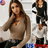 Women Sexy Chain V Neck T Shirt Tops Ladies Ribbed Knit Long Sleeve Slim Blouse