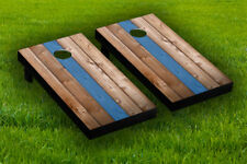 Blue Line Wood Cornhole Board Wraps Laminated Sticker Set Skin Decal