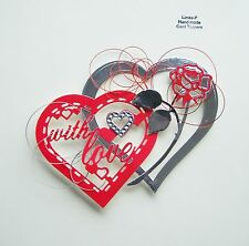 3D HEARTS, ROSE & WIRE DESIGN CARD CRAFT TOPPER  Heart 01