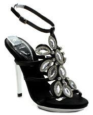 New Black Ankle strap silver HIGH HEEL strappy jewel Rhinestone open Sandal 6.5
