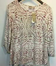 Chicos 3 Knit Blouse Large Tribal Animal Print Scoop Deep Berry