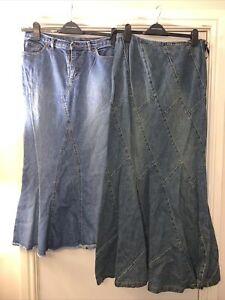 2 long Denim Skirt Size 12