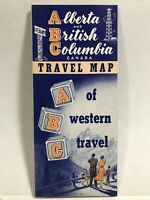 1940 ABC ALBERTA BRITISH COLUMBIA West Canada Travel Tourist Guide Map Brochure