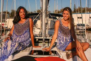Embellished Kaftans+Short Dress Silk Crepe BLUE, Size 10-12-14