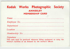 KODAK WORKS PHOTOGRAPHIC SOCIETY ANNESLEY MEMBERSHIP CARD 1990s - RARE