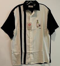 Bobby Chan Mens Black Ivory Wine Toast Silk S/S Button-Front Shirt NWT $98 S