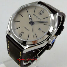 43mm PARNIS gray dial date sapphire crystal miyota 8215 automatic mens watch 232