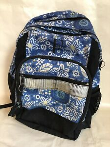 LL Bean Backpack Blue With Flowers  Fun Book bag