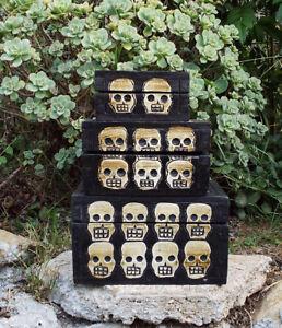 Skull Skeleton Wood Treasure Chest Box Set Tattoo Pirate Decor Art Day of Dead