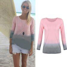 Damen Langarmshirt Sommer Beach Longsleeve Bluse T-Shirt Shirt Top Tee Plus Size