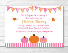 Pink Pumpkin Fall Harvest Printable Birthday Invitation Editable PDF