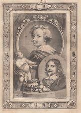 A.Houbraken (1660-1719)  Anthony van Dijk and Jan Davidsz de Heem