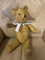 Vintage Teddy Bear 1950s 1940s Gold Mohair Fabric Paws 17 Inches Straw Wood wool