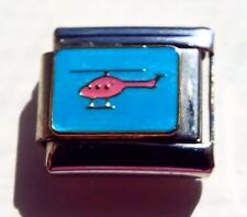 Pink helicopter on blue enamel 9mm stainless steel italian charm bracelet link