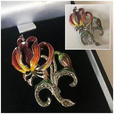 Vintage Jewellery BJL Silver Marcasite Rhodesian Flame Lily Flower Brooch Pin