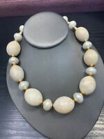 """Vintage 1950s Pearl Gold Tan Beaded Chinky Strand Necklace Hook Clasp 16"""""""