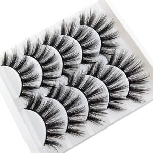 5Pair 3D Synthetic False Eyelashes Wispy Cross Long Thick Soft Fake Eye Lashes