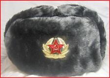 Russia Soviet Grey Soldier Chapka Ushanka  Size 55 = S
