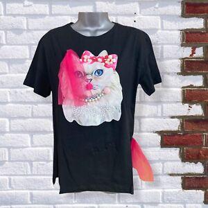Womens Black Beaded Pearl Pom Pom Mesh Size Medium Short Sleeve Cat T-Shirt