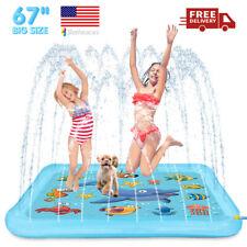 """67""""Large Kids Inflatable Water Spray Pad Sprinkler Mat Water Splash Play Pool"""