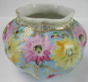 Antique Royal Kinran Crown Nippon Bowl Vase Blue with Yellow and Pink Flowers
