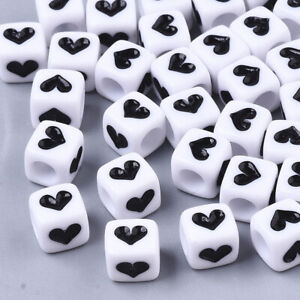200x Cube Opaque Acrylic Large Hole Beads With Black Heart Pony Loose Spacer 6mm