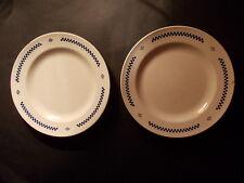 LUSTUCRU lot de 2 assiettes 1920 damier bleu marquées sous la base pâtes cuisine