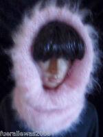 handgestrickt Schlauchschal Mohair Mütze Strickmütze  hand knitted hood had rosa
