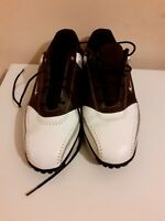 Nike air golf tour saddle Mens Size Uk 11 Brown and white Leather uppers