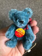 "RARE Steiff Miniature Blue Teddy Mohair 4"" Jtd (996894)- New W Tags CUTE NR"
