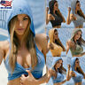 Women Sport Tank Crop Top Hooded Athletic Vest Gym Fitness Sports Yoga Running