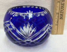 Crystal Candle Holders Fifth 5th Avenue Cobalt Blue Cut Glass Votive Tea Light