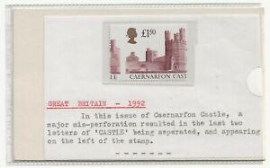 GB 1992 £1.50 Harrison Castle MAJOR ERROR HUGE PERF SHIFT SG1612 striking visual