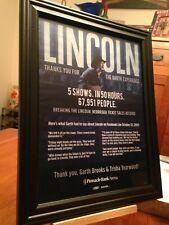 "Big 10x13 Framed Garth Brooks ""Live In Lincoln Nebraska - 2017"" Concert Promo Ad"