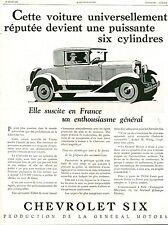 Publicité Ancienne Voiture CHEVROLET Six  1929