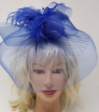 Royal Blue Fascinator w/Veil and Feathers, Headband, Wedding and Prom Accessory