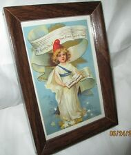 Framed Postcard, Vintage Reproduction, July 4 th. 5 inches by 7 inches