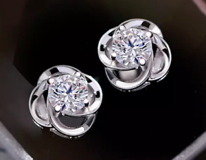 Crystal Clover Stud Earrings  Made with Swarovski Elements