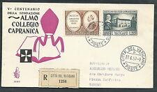 1957 VATICANO FDC VENETIA 35.2 COLLEGIO CAPRANICA TIMBRO ARRIVO - VT5